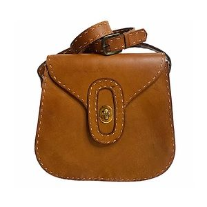 Vintage Saddle Shoulderbag Brown Leather Stitching